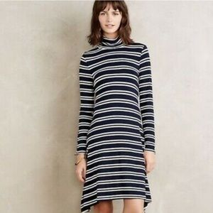 Maeve long sleeve striped turtleneck cotton dress